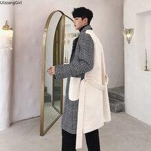 Шерстяное лоскутное клетчатое приталенное пальто с поясом, однобортное длинное пальто с карманами, японское зимнее корейское пальто, мужская куртка/большой Топ