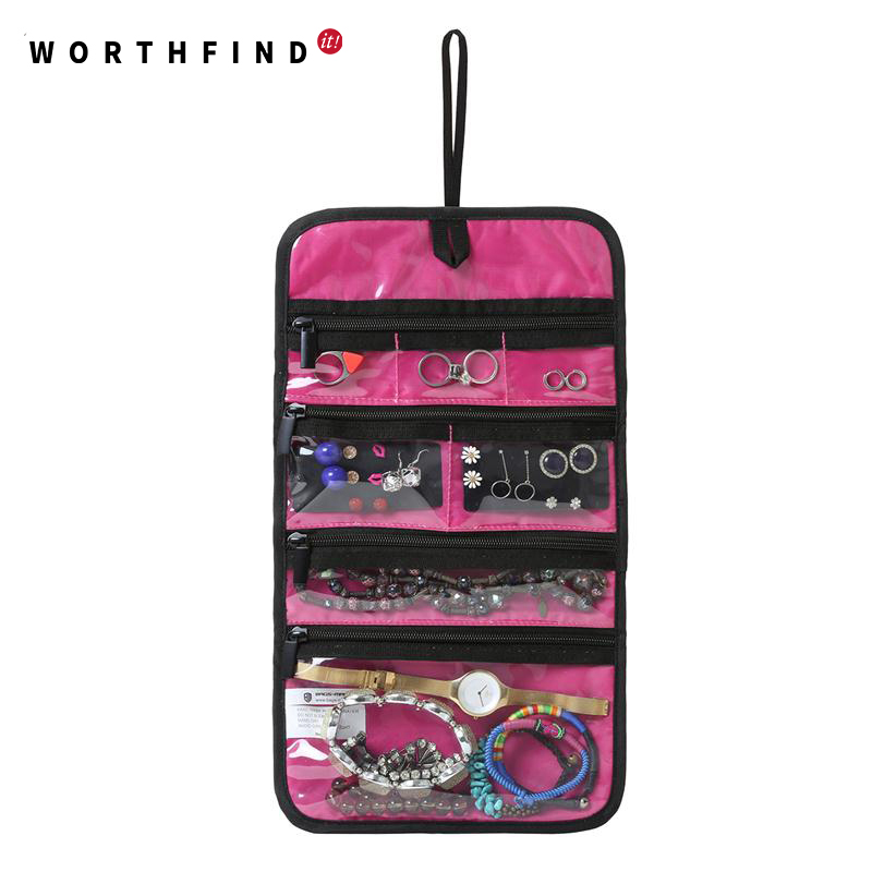 WORTHFIND Travel Accessories Storage Bag Jewelry Holder Necklace Bracelet Earring Ring Pouch Organizer Bag Jewelry Foldable bag