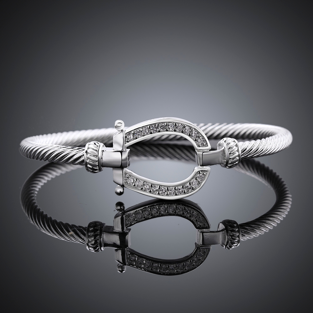 2017 Hot Ing Silver Horse Horseshoe Bracelet Wave Chain Elegant Bangle For S Vintage Bague Bijoux Lady Mujer Charms In Bangles From Jewelry