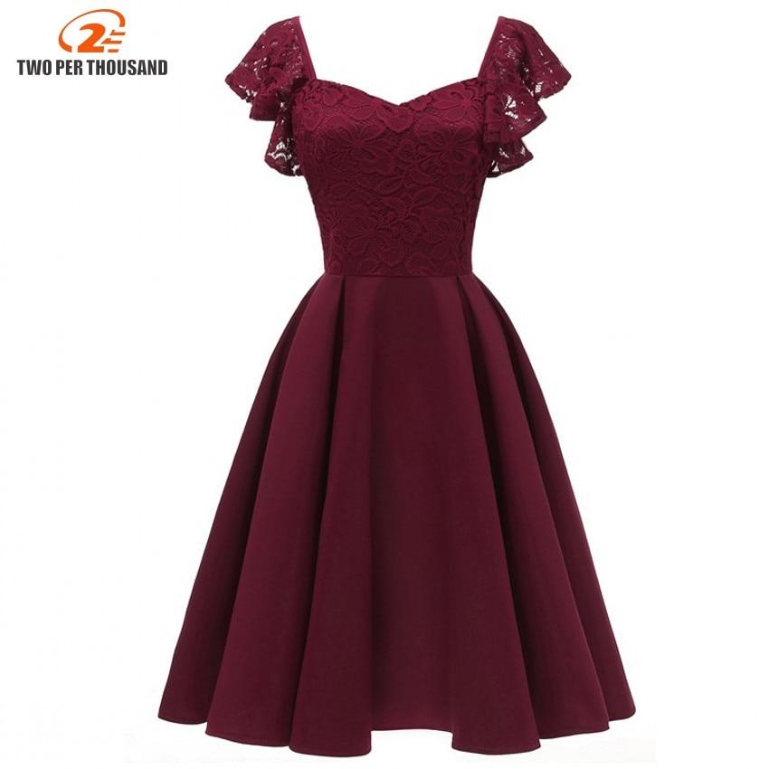 A line Vintage Vestidos Lace Dress Elegant Women Short ... - photo #2