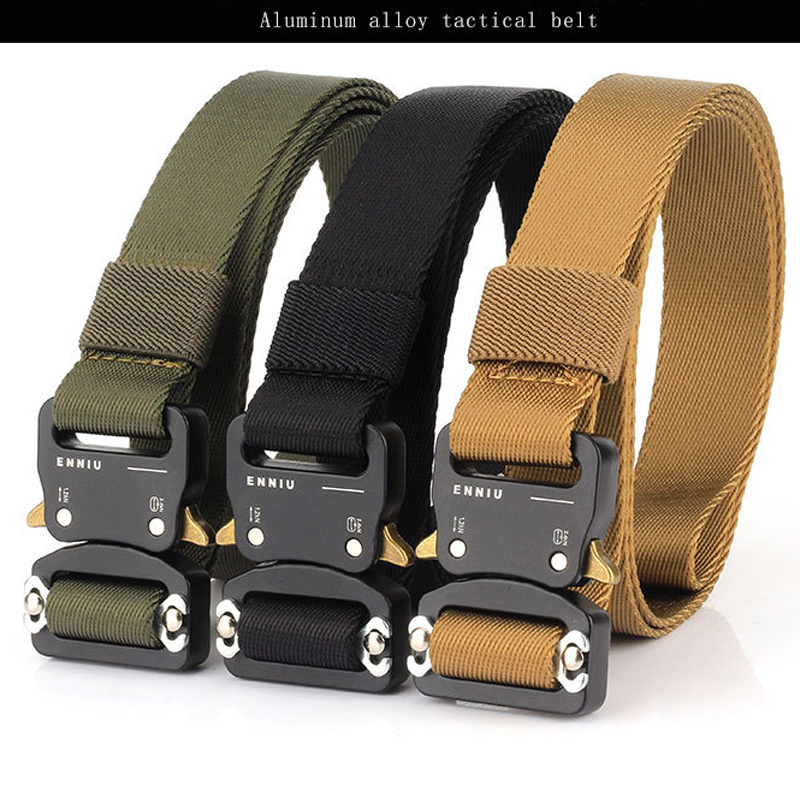 2020 Military Tactical Quick Metal Buckle Belt 1000D Oxford Wear Resistant Outdoor Fighting Molle Nylon Versatile Belt 3 Colors