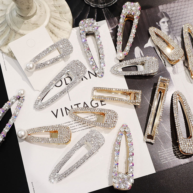 BlingBling Metal Rhinestone Hair Accessories For Women Geometric Gold Color Hair Clips For Girls Pearl Barrettes Hairgrip
