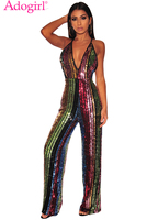 Adogirl Colorful Stripe Rainbow Sequins Palazzo Jumpsuit Women Sexy Deep V Neck Spaghetti Strap Club Party Romper Wide Leg Pants