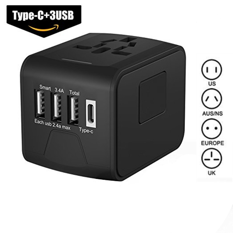 лучшая цена LONGET Travel Adapter international universal Type C travel adapter with 3 usb ports Worldwide Wall Charger for UK/EU/AU/Asia