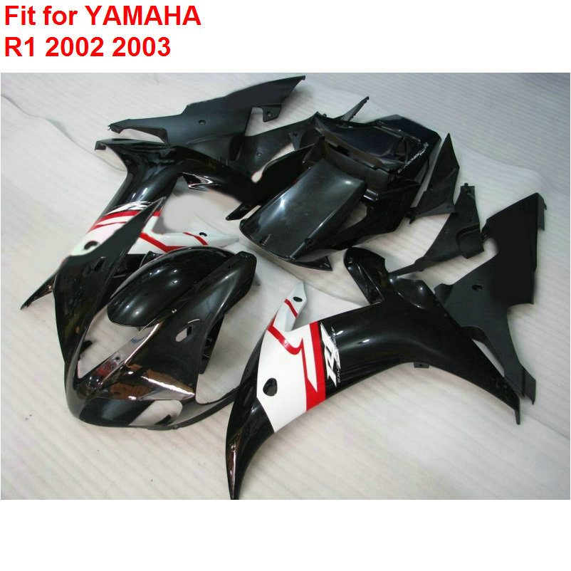 Aftermarket body parts fairing kit for Yamaha YZF R1 02 03 black white fairings set YZF R1 2002 2003 UI18 top quality aftermarket abs fairings for yamaha r1 2012 kit with free shipping