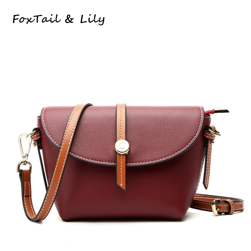 FoxTail Lily Ladies Popular Mini Crossbody Bag Genuine Leather Korean Style Women Small Shoulder Messenger Bags