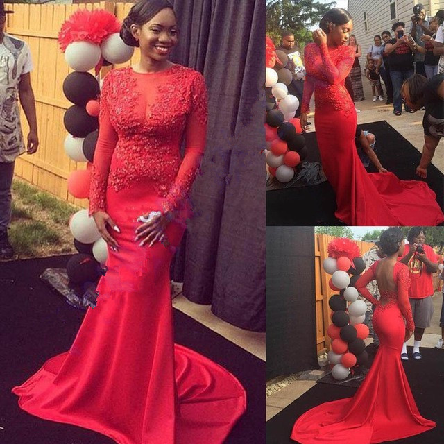 Red Applique Mermaid Long   Evening     dresses   Plus size New Fashion Sexy Backless Long Sleeve Prom Gown robe soire Abendkleider 2017