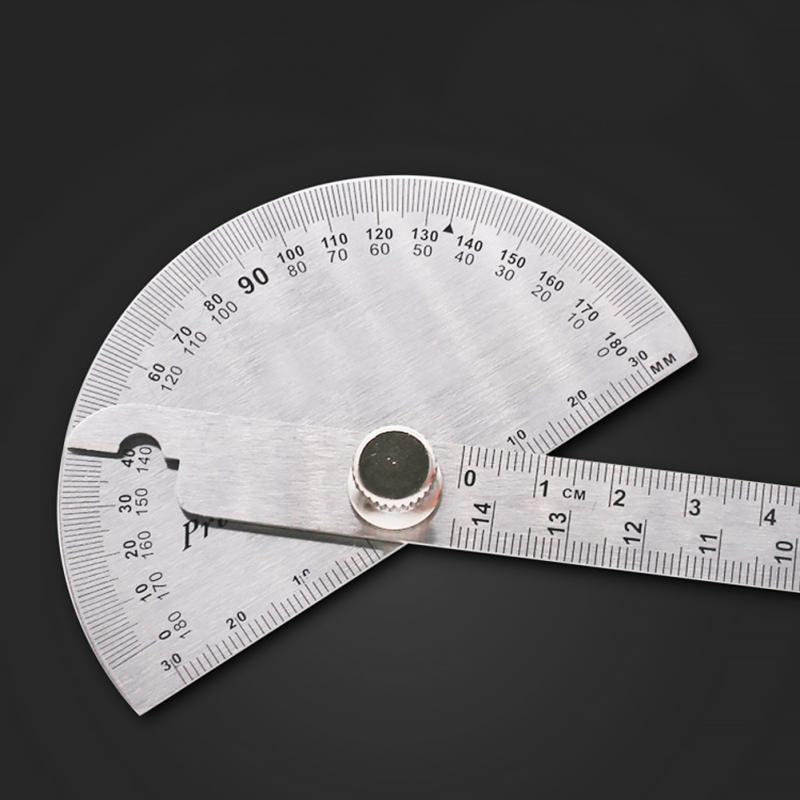 180 Degree Stainless Steel Angle Ruler Adjustable Protractor Multifunction Roundhead Mathematics Measuring Tool 14.5cm #0305