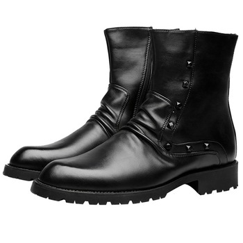 mens casual breathable soft leather boots motorcycle night club wear shoes rivets high boot young gentleman bota masculina male