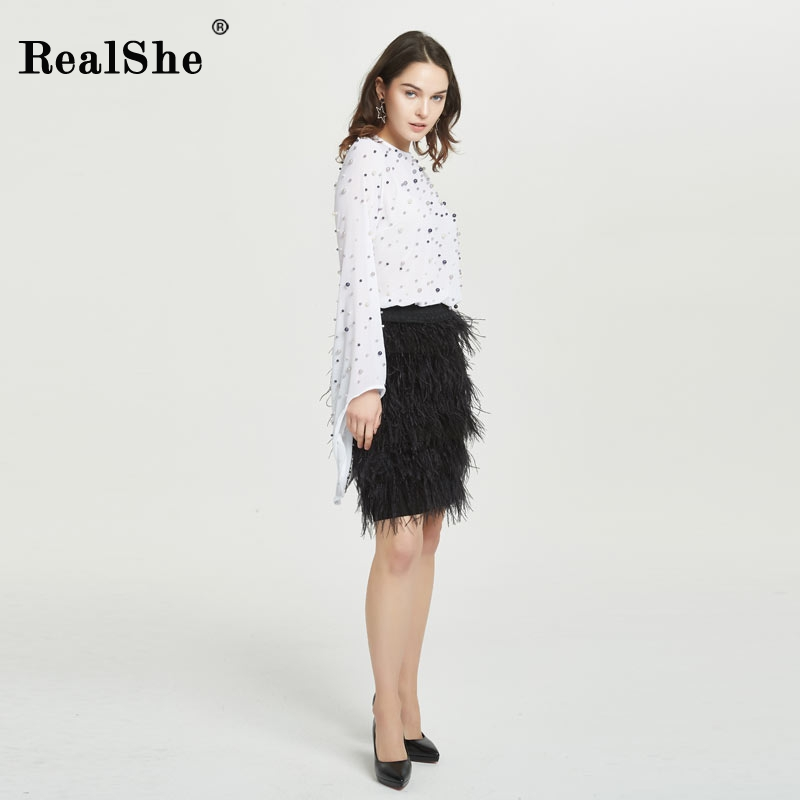 RealShe Woman Skirts Autumn Winter Skirts Elegant Ladies Suede Elastic Package Hip Skirt High Waist Tassels Feather Skirt Femme dabuwawa autumn winter new high waist plaid elegant skirt knee length slim fit formal skirt ladies pencil skirts d16csk003