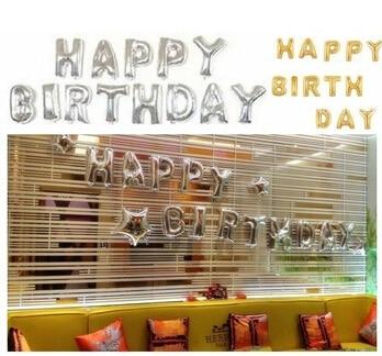 silvergold13pcs1set letter balloons happy birthday aluminum foil balloon classic toys helium foil