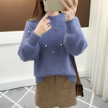 Sweater Women Autumn Winter Korean Casual Loose Lantern Sleeve Pullover O-Neck Solid Beading Knitwear Students Thick Sweater lantern sleeve plain pullover sweater