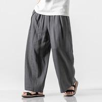 Men Cotton Linen Harem Pants Vintage Hip Hop Baggy Wide Leg Pants