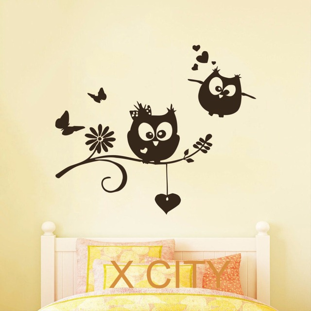 Cartoon Owl Childrens Decor Kids Vinyl Sticker Wall Decal Nursery Baby Room Bedroom Murals Playroom