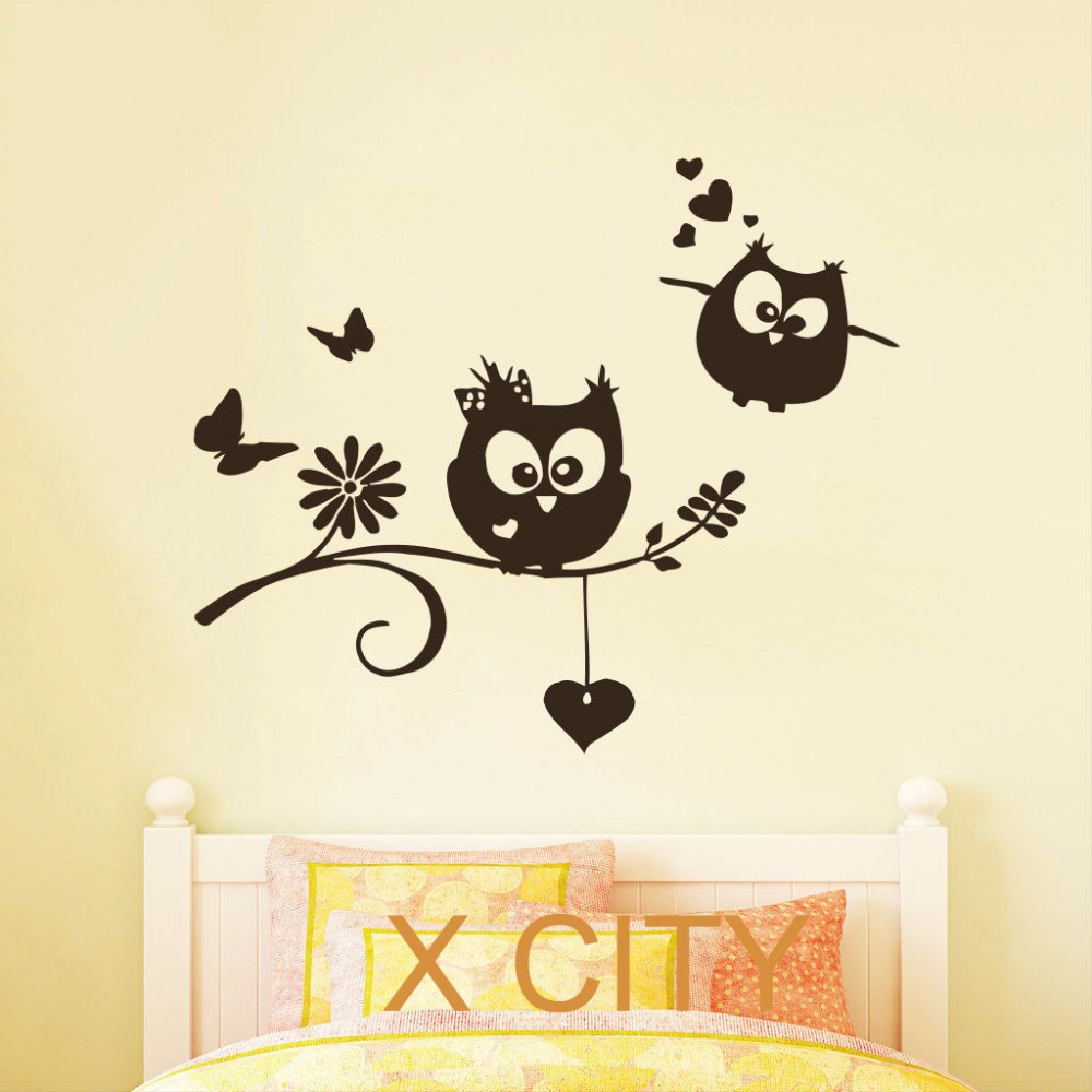 Cartoon Owl Lovers Childrens Decor Kids Vinyl Sticker Wall Decal Nursery Baby Room Bedroom Murals Playroom