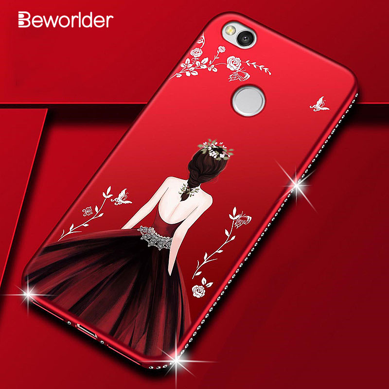 Beworlder For Xiaomi Redmi 4X Case 4A Redmi Note 4 Cases Beauty Girl Rhinestone Soft TPU Cover For Xiaomi Redmi Note 4X Case