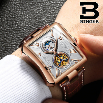 Cool Fashion Deformed Square Watches for Men Roman Number Vintage Leather Strap Watch Tourbillon Mechanical Wrist watch Moon Pha