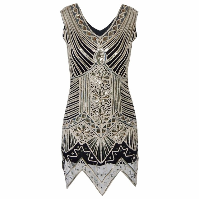 5d181d8605e2b Women's Double V Neck Sleeveless 1920s Embellished Gatsby Art Deco Sequin Flapper  Dress Vintage Mini Party Dress
