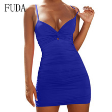 FUDA Women Sexy Spaghetti Strap Mini Dresses Deep V Neck Backless Bodycon Pencil Dress Short Elegant Party Club Wear Female