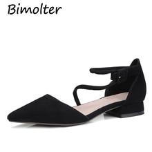 Bimolter High Quality Sheep Suede Flats Slim Sexy Pointed toe Flats Shoes Women Flat Heel Fashion Womens Brand Shoes LFSB012 pointed toe suede slingback flats