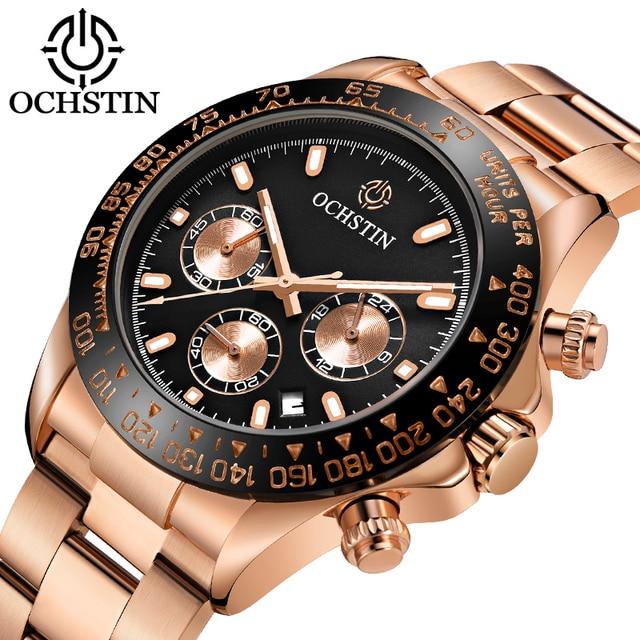 Ochstin 남자 시계 전체 스테인레스 스틸 손목 시계 패션 쿼츠 남자 시계 아날로그 스포츠 신사 시계 남성 시계 relojes
