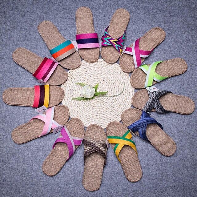 Женские и мужские Нескользящие льняные домашние летние туфли на плоском ходу с открытым носком Тапочки sapato masculino calzado hombre terlik T