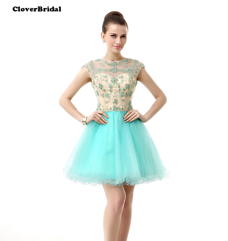 2017 summer cool backless sequins beading stones green homecoming dresses cap sleeves mini tulle A-line
