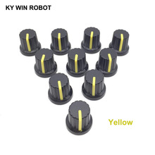New 10 Pcs Yellow 6mm Shaft Hole Dia Plastic Threaded Knurled Potentiometer Knobs Caps