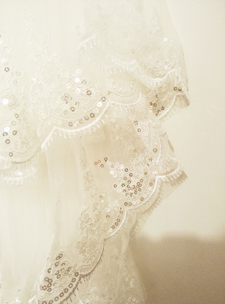 New Arrival Wedding Accessories Two Layer Ribbon Edge White Ivory Wedding Veils Bridal Veil With Comb