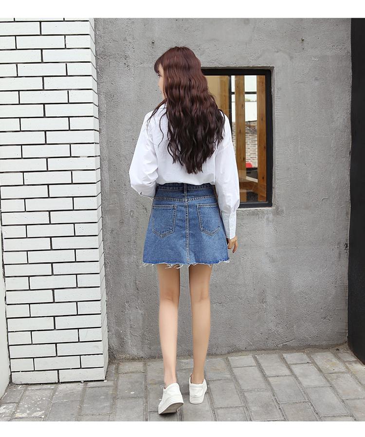 HTB1O0g0QXXXXXaaXpXXq6xXFXXXL - Denim Skirts Striped Slim A Line High Waist Blue Jeans Skirt PTC 154