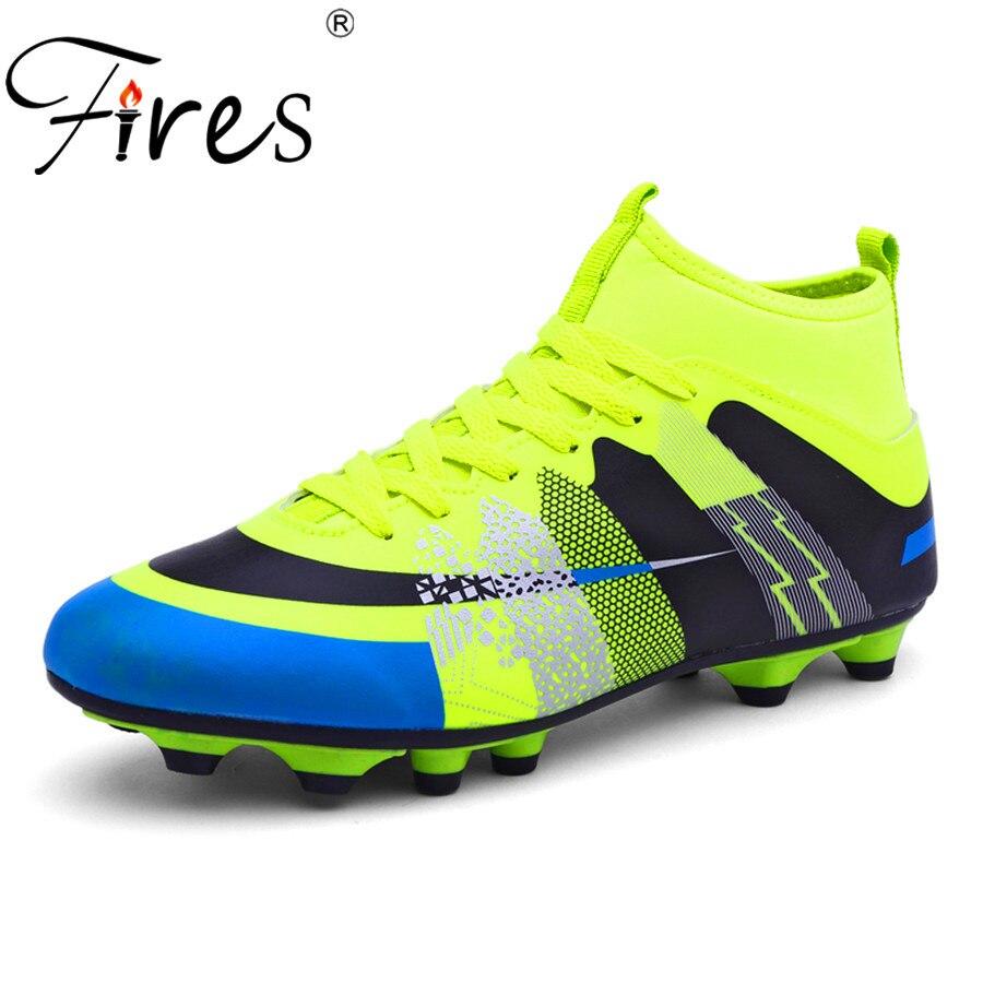 Feux Longues Pointes de Football Chaussures/Bottes Pour Hommes Sports de Plein Air Football Chaussures/Boot 2017 Hommes Haute Cheville D'origine Football Chaussures