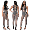 Fantasia Women Sexy Half Transparent Digital Snake Print Bodycon Bodysuit Fashion Clubwear Perspective Feminino Macacao Catsuit