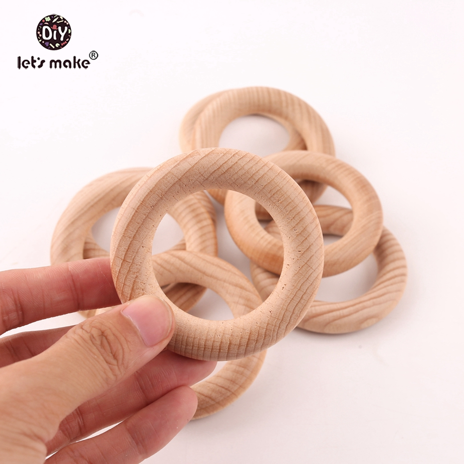 Let's Make 10pcs 65mm Beech Wooden Teething Ring Baby Teether DIY Nursing Materials Accessories Necklace Making Tiny Rod Ring