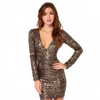 sexy womens clothing glitter dress bodycon sequin dress high quality long sleeve gold dress plus size dresses ropa mujer elbise