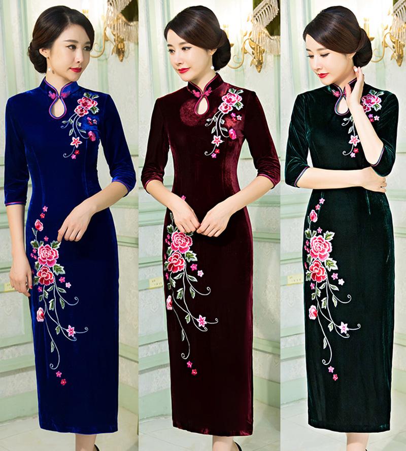 b6282fc61653c High Quality Women Slim Long Sleeve Dress Chinese Style Evening Party Dress  Female Qipao Vented Cheongsam Long Wedding Dress-in Cheongsams from ...