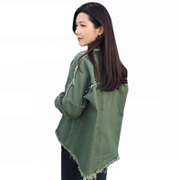 Fashion Rivet Tassel Jean Jacket Womens Autumn Harajuku Black Army Jacket 2018 Street Style Loose Casual Denim Jacket For Women