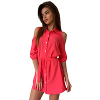Fashion Shirt Dress Women Sexy Mini Dress Cold Shoulder Women Dress Bandage Turn Down Collar Slim