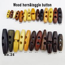 15 шт. 20 мм~ 60 мм коричневый деревянный рожок Переключить одежду швейные кнопки одежды аксессуары пальто Пуговицы WHB-094