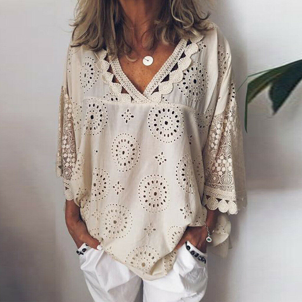 Women Casual Solid V-Neck Lace Loose Tee Ladies Elegant Half Sleeve Hollow Out Tops T-Shirt New Fashion