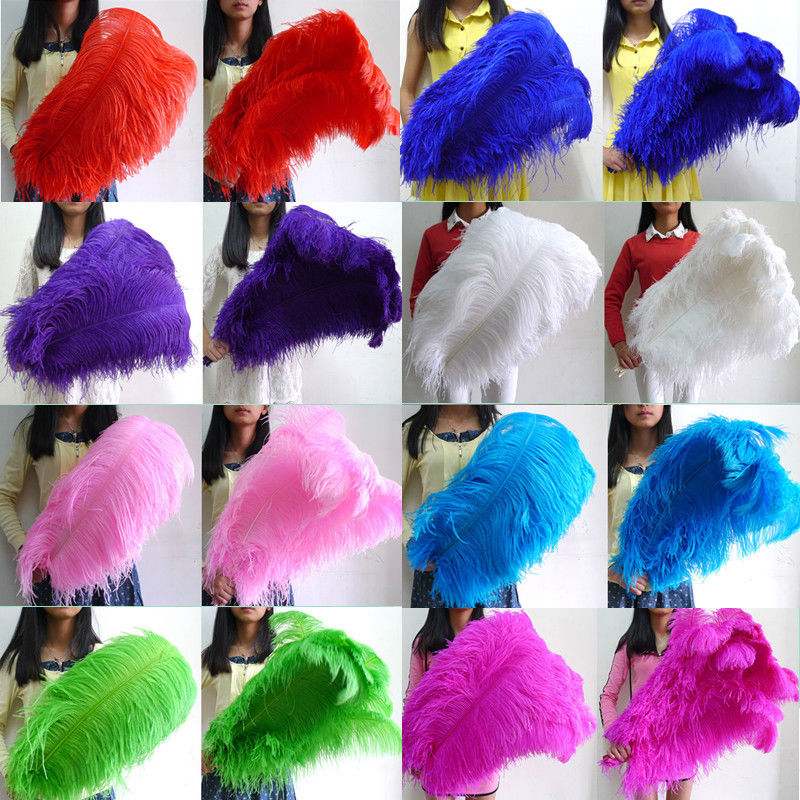 Gorgeous Wholesale 10 50 100 pcs Thick Stem Male Ostrich Feathers 28 30inches 70 75cm Wedding