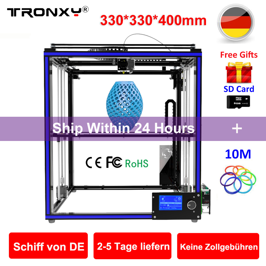 Upgraded Tronxy 3D Printer X5S Precision Reprap DIY 3D Printer kit SD card Large 3D Printing Size 330*330*400mm 3D Metal Printer flsun 3d printer big pulley kossel 3d printer with one roll filament sd card fast shipping