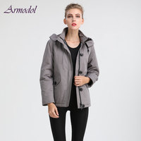2017 Winter New Arrival Gray Style Women Parka Cool Grey Hat Cotton Inside Thick Parka Jacket Short style Free shippoing