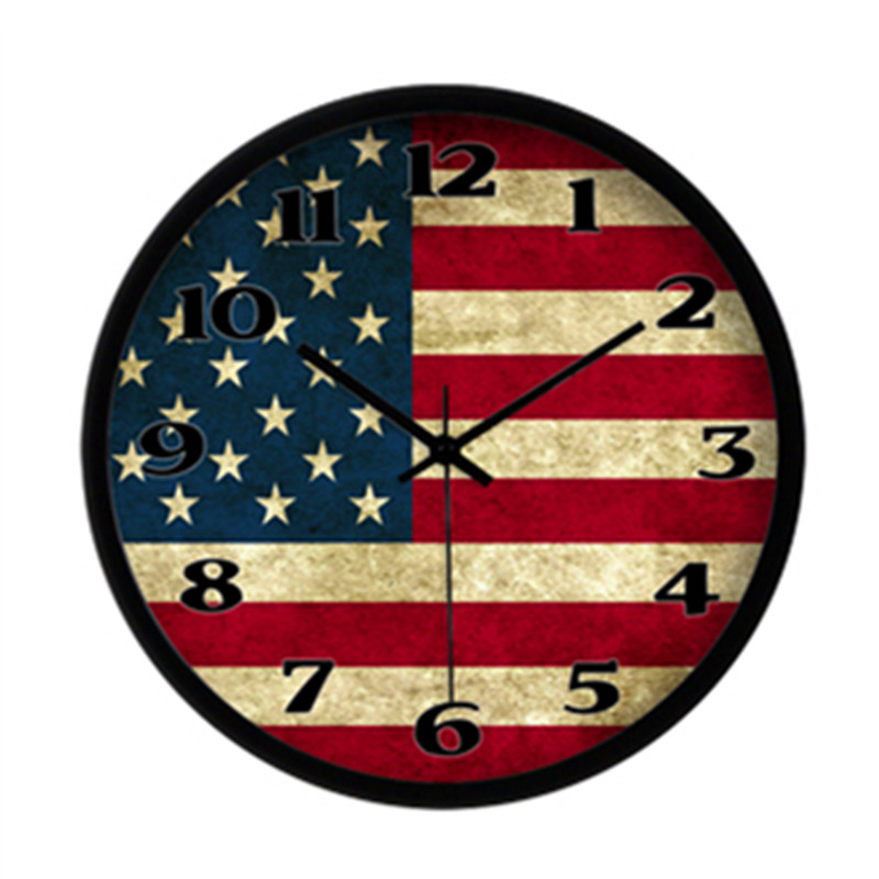 Wholesale American Usa Flag Designer Wall Clock Modern Circular Home Decoration 3d Watch Decor Clcoks Living