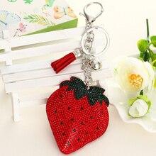 ZOSHI Brand fashion rhinestone fruit Leather tassle women keychain bag pendant quality chic Car key chain ring holder Jewelry