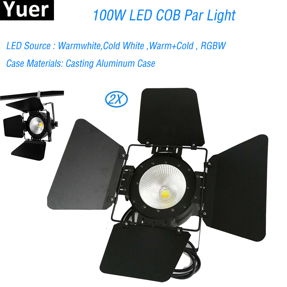 2Pcs/Lot Aluminium Case 100W LED COB Par Light DMX512 Disco Lights Professional Music Stage Bar DJ Equipment Sound Pparty lights