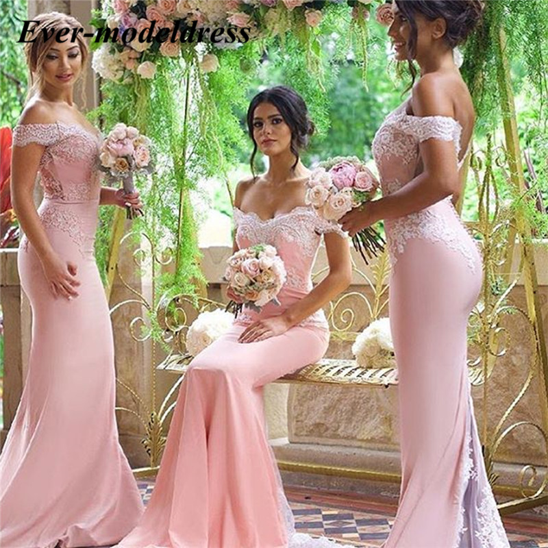 Pink Mermaid   Bridesmaids     Dresses   2019 Off Shoulder Appliques Lace Long Maid of Honor Wedding Guest Party Gowns Vestidos Cheap