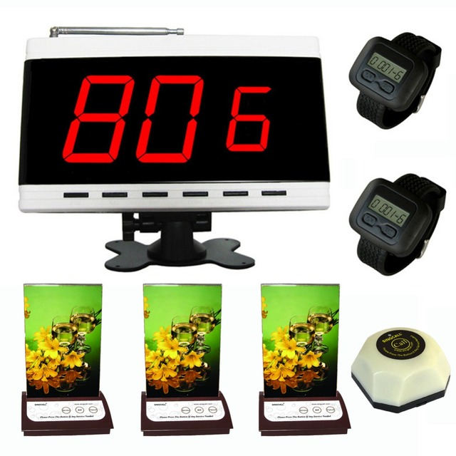 Garçom sistema de chamada de campainha, 1 pc cozinha, botão 3 pcs botão menu com o serviço, 1 display. 2 pcs relógio receptor.