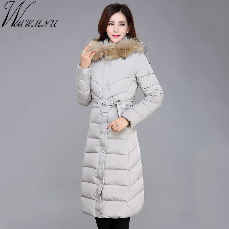 Wmwmnu 2017 Women Coat Jacket long Woman Parka With A Rabbit Fur Winter Thick hooded Coat Women plus size New Winter 2017 winter new clothes to overcome the coat of women in the long reed rabbit hair fur fur coat fox raccoon fur collar