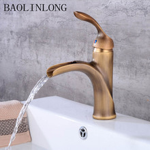 BAOLINLONG Waterfall Styling Brass Deck Mount Bathroom Faucets Vanity Vessel Sinks Mixer Faucet Tap