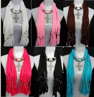 2013 Korean Fashion Scarf Jewelry Pendant Necklace Fashion Womens Soft Scarves Jewellery Scarf Pendant
